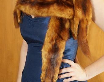 Flawless Vintage 40's Mink Body Fur Wrap 5 Pelts Complete Head Feet Tails Genuine Fur Stole