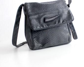 Vintage Navy Embossed Leather Purse | Supple Leather Messenger Bag  | Textured Leather Shoulder Bag