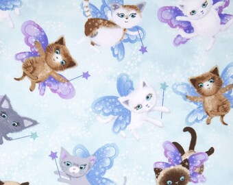 Fabric by the Yard - Fairy Cats in Blue- from Timeless Treasures