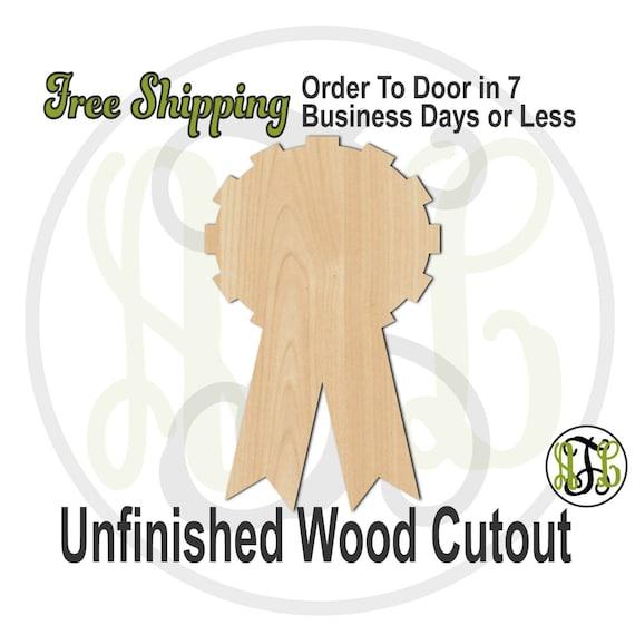 """Award Ribbon- 3"""" to 6"""" Minis- 40031- Small Wood Cutout, unfinished, wood cutout, wood craft, laser cut, wood cut out, ornament"""