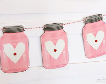 Pink Mini Mason Jar Heart Garland : Handcrafted Valentine's Day Decoration | Valentine's Party Decoration | Rustic Mantel Decoration | Heart