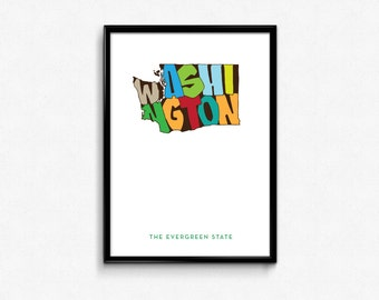 Washington Typography Poster, Washington Printable, Washington Poster, Print Art, Typography Map Poster, Digital Prints,Typography poster