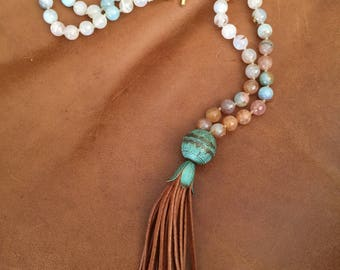Gorgeous LONG Agate necklace with leather fringe