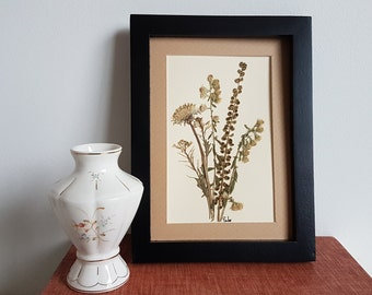 Pressed flower art  5x7 matted original pressed flowers artwork made with real dried flowers - dried flower art - wild flower art