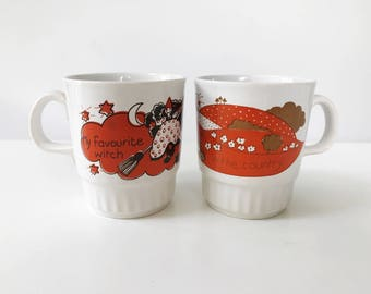 REDUCED Pair of Vintage 1970s Royal Alma Children's Mugs