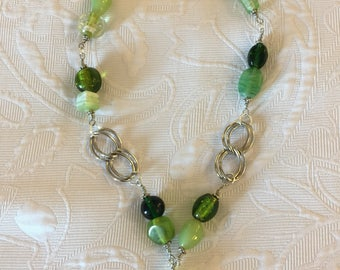Large Silver Toned Chain Loop Necklace Embellished with Green Glass Beads