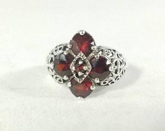 Sterling Silver Filigree Red Garnet Flower Ring Size 6