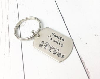Stick Figure Keychain - Dog Tag Keychain - Stick Figure Family Keychain - Family Keychain - Family Gift - Hand Stamped Personalized Keychain