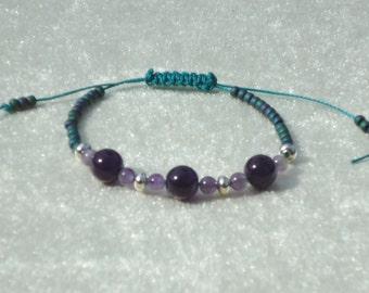 Amethyst bead bracelet, adjustable wrap bracelet, purple jewelry, Raku, bohemian, boho, hippie, zen, macrame