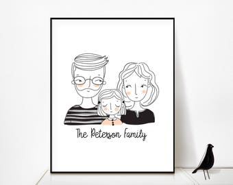 Custom Family Portrait/Family Portrait Custom/Family Portrait/Custom Portrait/Family Portrait illustration/Personalized Art/Valentines Day