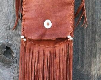 Fringed leather purse , Custom leather crossbody handbag ,  Fringed shoulder bag