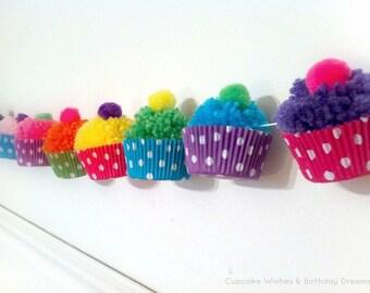 Yarn Cupcake Pom Pom Garland | Cupcake Birthday | Cupcake 1st Birthday | Girl 1st Birthday Party | Cupcake Party | Cupcake Banner