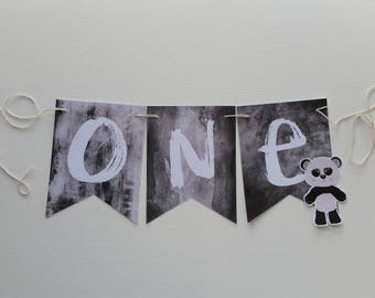 Panda One Banner High Chair Custom Made Smash Cake Photo Shoot Bunting Banner 1st First Birthday Decoration