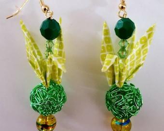 Handmade Lime green origami paper crane earrings