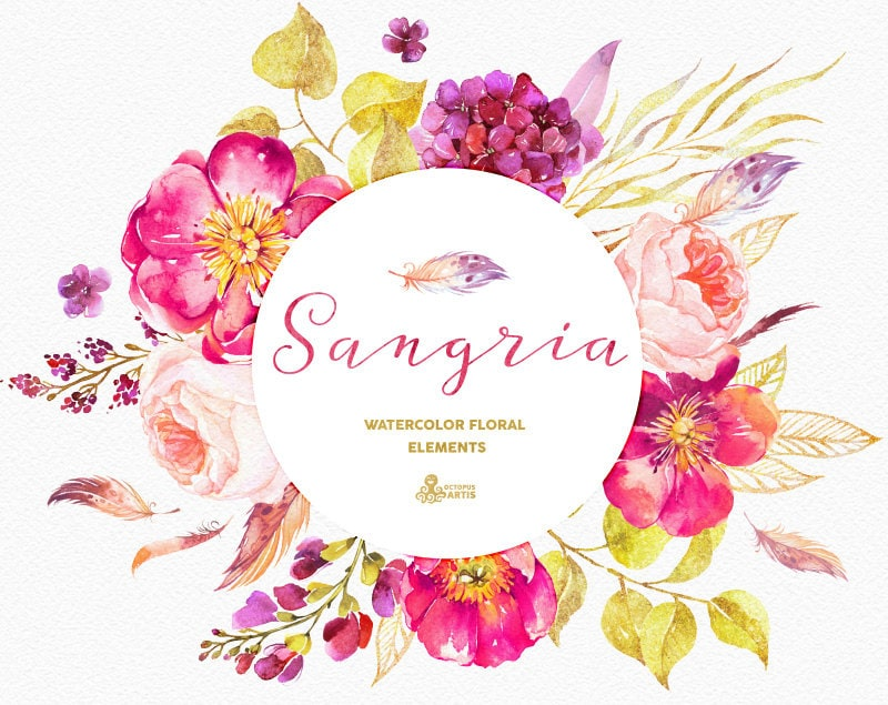 Sangria Wedding Invitations: Sangria. Burgundy And Gold Floral Elements Watercolour