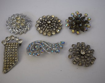 Lot of 6 Vintage Rhinestone Brooches/ Pins