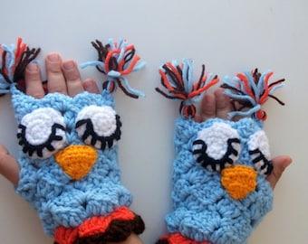 Blue Owl Mitten-Crochet Owl gloves-for Baby or Toddler-animal gloves