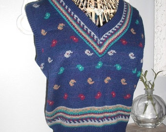 vintage 1980s PAISLEY Sweater vest .... blue teal rust yellow ... Hipster ... indie .. retro