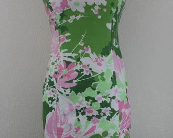 Vintage Talbots Sheath Dress Floral Pattern Sleveless 1980s