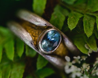 Silver ring with aquamarine and gold leaf