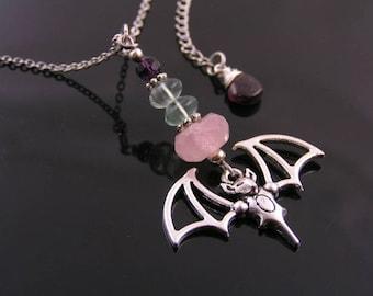 Bat Necklace with Rose Quartz, Fluorite and Amethyst, Bat Skeleton, Bat Wing Necklace, Gothic Jewelry, Gemstone Necklace, Gem Jewelry, N1218