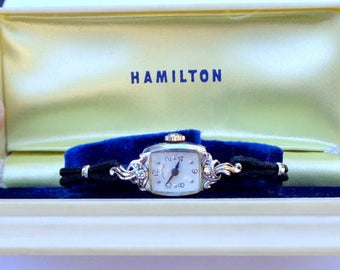 14K White Gold Diamond Watch, Vintage Ladies Hamilton, Made in the USA, 17 Jewels, Working Mechanical Watch, Antique Running Watch