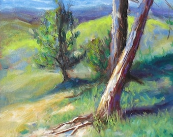 oil painting // landscape pine tree // artistic work of art // hand-painted impressionism contemporary art