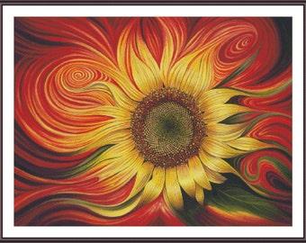 Sunflower Stitch | Counted Cross Stitch | Cross Stitch Pattern | Flower Cross Stitch | Abstract Stitch | Printable PDF Chart | Needlepoint