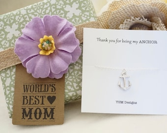 Silver Anchor Necklace - Anchor Gemstone Necklace, Anchor Charm Necklace, Silver Necklace, Thank You for Being my Anchor Necklace, Mom Gift