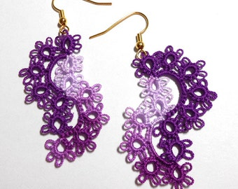 Tatted Lace Earrings - Cascade Tatted Earrings - Your Color Choice - Made To Order