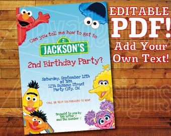 "Printable Sesame Street Invitation for Sesame Street Birthday / Sesame Street Party (5"" x 7"") Editable PDF Instant Digital Download Elmo"