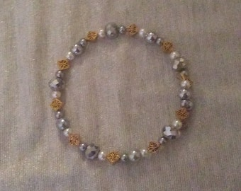Delicate Silver, Gold, and White Beaded Wraparound Bracelet