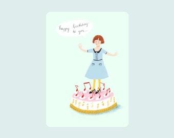 Singing cake , illustration print