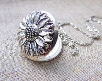 Antique sunflower necklace locket – silver sunflower jewelry, luck gift for her – sunflower pendant locket – luck necklace her, photo locket