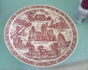 "Vernon Kilns Hudson's 10.5""  Detroit Plate, USA, Free Shipping H1"