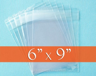 100 6 x 9 Inch  Clear Resealable Cello Bags, Plastic Packaging, Acid Free
