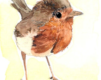 ACEO Limited Edition 8/25- Little robin, Art print of an original watercolor painting, Bird art, Housewarming gift idea, Artist trading card