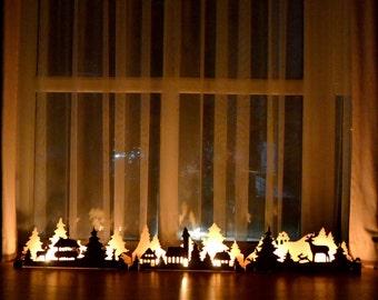 Christmas light mantle decorations wooden candlestick fireplace decor Nativity Nutcracker