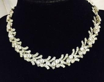 Vintage Signed Ciner Rhinestone Choker Necklace in Original MC Lewitt Jewelry Box