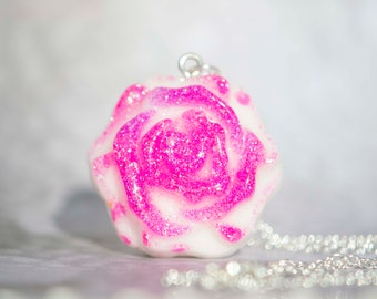 Pink & Purple Rose Necklace