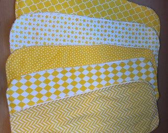 Set of 5 Coordinating Burp Cloths