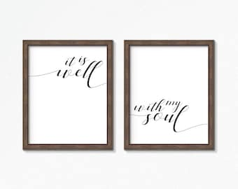 Scripture Print   It Is Well With My Soul   Hymn   Christian Print   Bible Verse Print   Gift for Mom   Scripture Printable