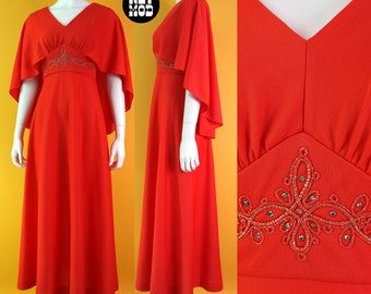 Lovely Vintage 70s Red-Orange Beautiful Long Party Dress with Attached Capelet, Soutache & Rhinestones
