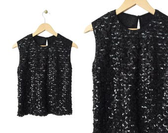 Vintage 60s Black Sequin Sheer Knit Sleeveless Top Keyhole Sheer Back Made in USA Stylebest size Small