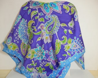 44 in silk twill square purple lavender lime blue paisley hand painted batik scarf
