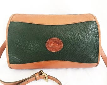 Vintage Dooney and Bourke Green Leather Cross Body Purse