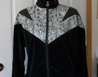 Vintage 80s Fashion Jacket Mens Womens JV Jackie Vital Bad Boyz Coat Snakeskin Black Velour