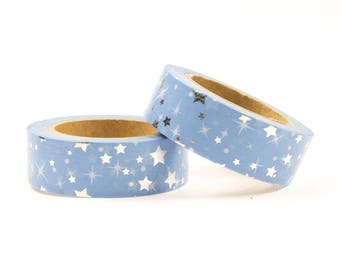 Blue washi tape with silver foil stars