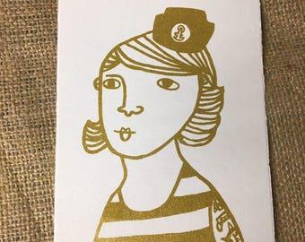 Impression carte postale avec un motif marin Freya (or)