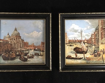Pair of framed ceramic tiles with Venetian canal scenes. Ready to hang ceramic tile art. Small spaces wall art. Hallway art. Venice canals.